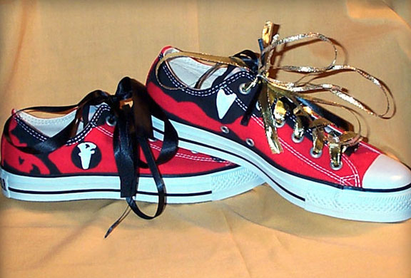A genuine Converse Low-Top red sneakers customized just like Emma Watson's