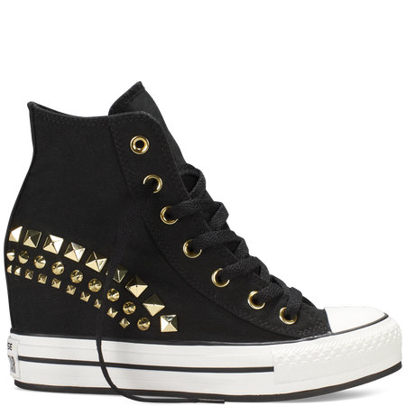 Black Chuck Taylor Patform Wedge Women Shoes