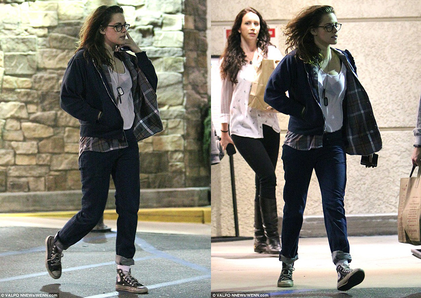 Kristen Stewart in Black Hi Top Chucks