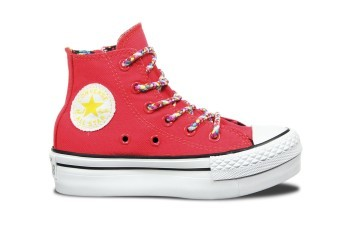 Outer Side of Diva Pink High Top Converse