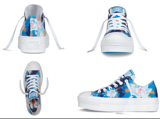 Converse All Star Blue Flower Print