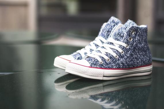 Knitted Navy Blue High Top Womens Converse Chuck Taylor All Star