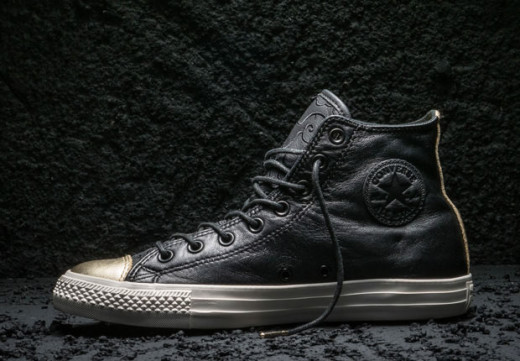 All Black Leather Converse with metallic toe cap