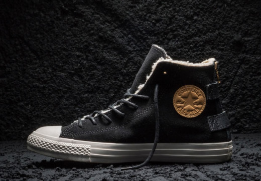 Black Suede Winter Converse with Brown Leather Patch and Back Zip